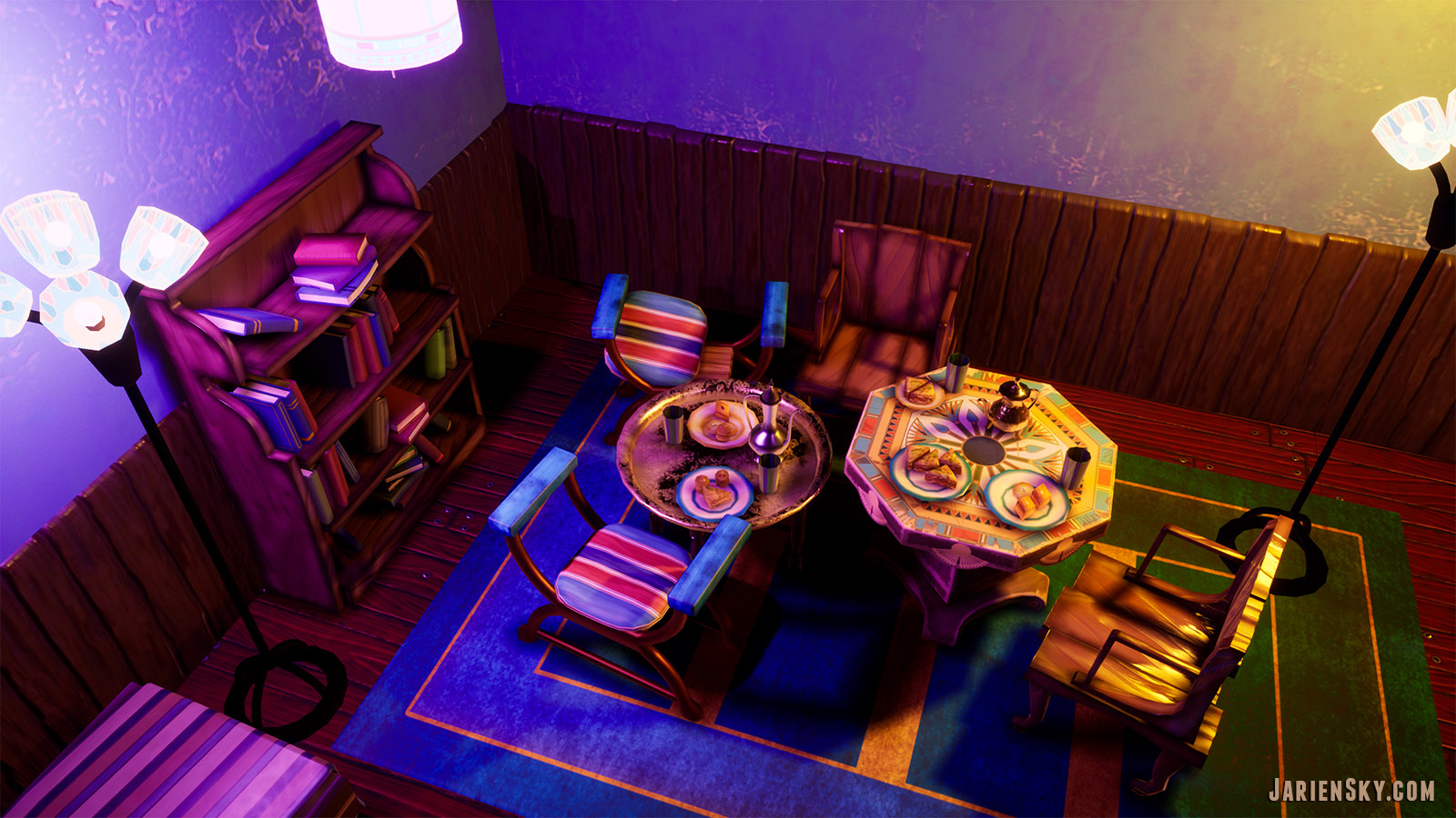 Egyptian cafe stylized PBR diorama