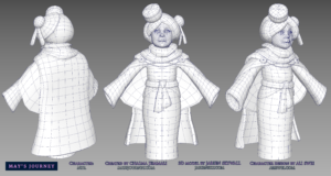 Wireframe fo Myr character, by Jarien Skywall for May's Journey game by Chaima Jemmali